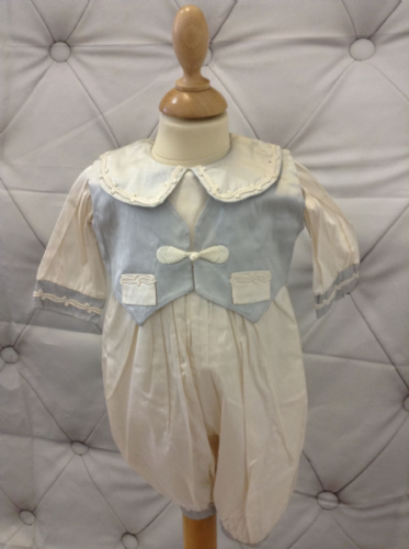 Vintage Silk Ivory Romper with Blue Waistcoat